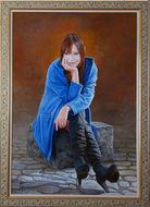 第61回全日肖展 2014年 内閣総理大臣賞 「ほおづえ」 油彩 P100号
