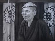 コンテ肖像画(登巳寿司大将)